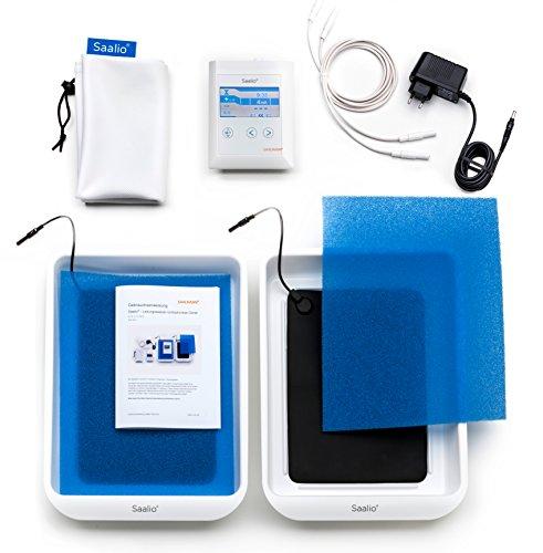 Saalio® DE Set - Iontophoresegerät gegen Schwitzen an Händen/Füßen (Puls-Gleich)